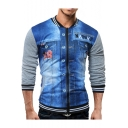 New Trendy Fashion Rib Stand Collar Long Sleeve Denim Patched Zip Up Slim Fit Jacket for Men