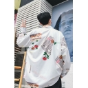 Guys Streetwear Hip Hop Fashion Allover Letter Floral Printed Loose Casual Shirt