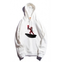 Funny Cartoon Figure Printed Stylish Long Sleeve White Pullover Casual Hoodie