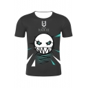 Cool Game 3D Figure Letter Printed Round Neck Short Sleeves Relaxed Casual Tee