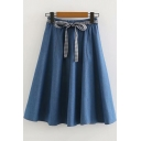 Fashion Plaid Tied Waist Midi A-Line Denim Skirt