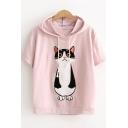 Cartoon Cat Embroidery Short Sleeve Drawstring Hood Summer Casual T-Shirt