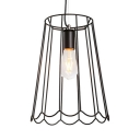 Vintage Wire Frame Overhead Lighting Metal 1 Light Black Pendant Lamp with 71