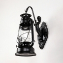 Metal Kerosene Sconce Light Single Antique Wall Lamp in Black/Copper/Bronze for Kitchen