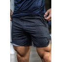 Popular Zip Pockets Patched Elastic Waist Plain Guys Casual Sport Shorts