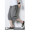 Mens New Stylish Plaid Pattern Drawstring Waist Wide-Leg Loose Fit Cropped Pants