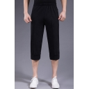 Mens Sport Casual Elastic Waist Simple Plain Cotton Loose Cropped Pants