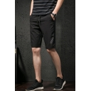Mens Trendy Feather Embroidery Drawstring-Waist Quick Dry Black Casual Sport Shorts