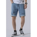 Mens Summer Cool Fashion Cut Ripped Frayed Hem Straight Fit Loose Denim Shorts