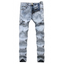Guys Cool Bleach Washed Zip-Embellished Patchwork Ripped Stretch Fit Jeans in Light Blue