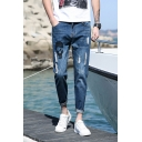 Mens Street Style Zip-Embellished Striped Print Stretch Slim Fit White Jeans