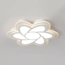 Flower Living Room Flush Light Acrylic Contemporary LED Ceiling Light in White/Warm