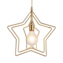 1 Light Open Bulb Hanging Lamp with Star Modernism Metal Pendant Light in Brass