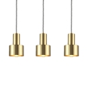 3 Lights Cylinder Pendant Light with Linear Canopy Vintage Metal Hanging Light Fixture in Brass