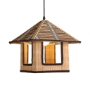 Bamboo House Hanging Light One Light Asian Ceiling Pendant with 47