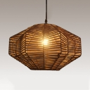 Coffee Geometric Pendant Light 1 Light Rustic Hand Knitted Hanging Light for Patio