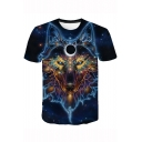 Summer Fashion 3D Galaxy Eagle Wolf Printed Short Sleeve Blue T-Shirt