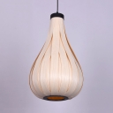 Wood Gourd Drop Light for Dining Room Minimalist Style 1 Bulb Pendant Light in White/Brown