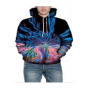 New Stylish 3D Laser Lines Printed Long Sleeve Black Casual Pullover Hoodie