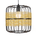 Metal Cage Cylinder Hanging Light Height Adjustable Rustic 1 Bulb Pendant Light in Black, 12