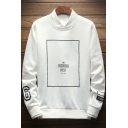 Simple Letter THE FASHION BEST Printed Round Neck Long Sleeve Mens Pullover Sweatshirt