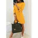 Summer Round Neck Tied Cuff Long Sleeve Solid Casual Mini A-Line Dress