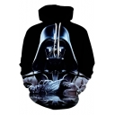 Cool 3D Darth Vader Printed Long Sleeve Relaxed Black Drawstring Hoodie