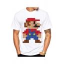 Trendy Game Figure Letter Printed Unisex Short Sleeve White T-Shirt