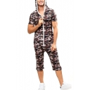 Mens Stylish Coffee Camo Printed Hoodie Zip Up Gym Sports Casual Playsuits Rompers