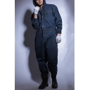 Men's Stylish Solid Color Long Sleeve Hooded Flap Pocket Front Breathable Dust Proof Denim Mechanic Coveralls