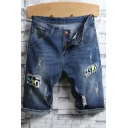 Mens Street Fashion Applique Destroyed Ripped Rolled-Cuff Dark Blue Denim Shorts