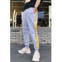 Stylish Drawstring Waist Gathered Cuff Ring Patch Tape Side Sport Casual Sweatpants