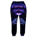 New Trendy 3D Galaxy Printed Drawstring Waist Mens Gathered Cuff Black Casual Sweatpants