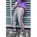 Guys Fashionable Plaid Pattern Striped Side Drawstring-Waist Casual Sports Grey Pants
