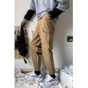 Mens Hot Fashion Drawstring Waist Striped Velcro Patch Elastic Cuff Casual Cargo Pants