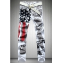Mens New Fashion American Flag Printed Stretch Slim Fit White Casual Jeans (Pictures for Reference)