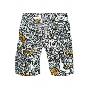 Comic Funny Face Graffiti Drawstring Waist Loose Casual White Athletic Shorts