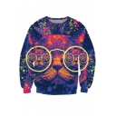 Lovely Cartoon Cat with Glasses 3D Printed Round Neck Long Sleeve Blue Sweatshirt