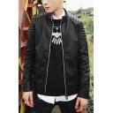 Punk Style Plain Stand Collar Long Sleeve Quilted Detailing Zipper Pockets PU Biker Jacket