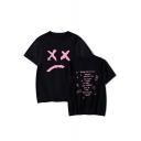 American Rapper Sad Face Fashion Street Letter Round Neck Basic Unisex T-Shirt