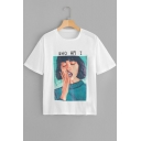 Popular Letter WHO AM I Portrait Pattern Basic Short Sleeve White Tee