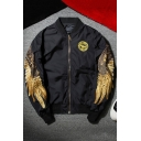 Trendy Gold Wing Embroidery Long Sleeve Stand-Collar Zip Up Unisex Bomber Jacket