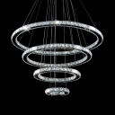 Chrome 4-Tier Rings Chandelier with Adjustable Cord Modern Clear Crystal Hanging Lights for Living Room