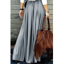 Fashion Solid Color A-line Pleated Long Skirt