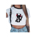 Girls Summer Cartoon Dog Printed Round Neck Short Sleeve Cropped White Casual T-Shirt