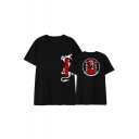 Chinese Style Letter Dragon Pattern Short Sleeve Black Cotton T-Shirt