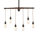 6 Lights Open Bulb Island Pendant Lights Industrial Metal Hanging Island Lights in Black for Dining Room