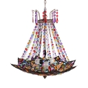 1/3 Lights Bowl Chandelier with Colorful Crystal Decoration Vintage Hanging Lights