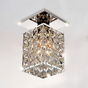 Rectangle Ceiling Light Fixture 1 Light Modern Style Clear Crystal Semi Flush Mount Lighting, 8