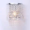 Vintage Style Wall Mounted Light One-Light Clear Crystal Sconce Lighting in Chrome
